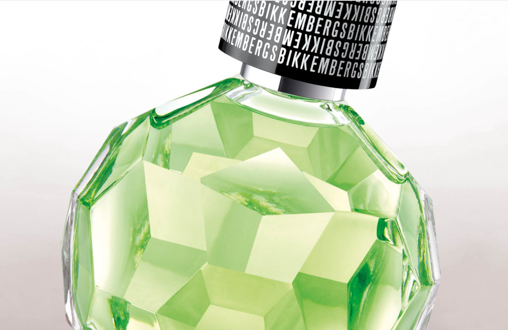 Detail view of customized perfume bottle