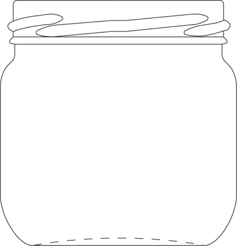Technical drawing of round jar 180 ml - article number 61158