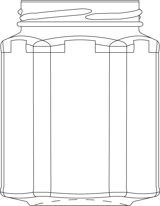 Technical drawing of hexagonal jar 3000 ml - article number 61164