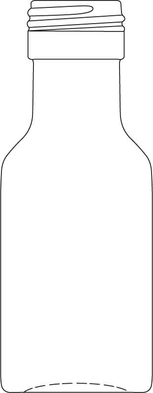 Technical drawing of mini bottle 28 ml - article number 74323