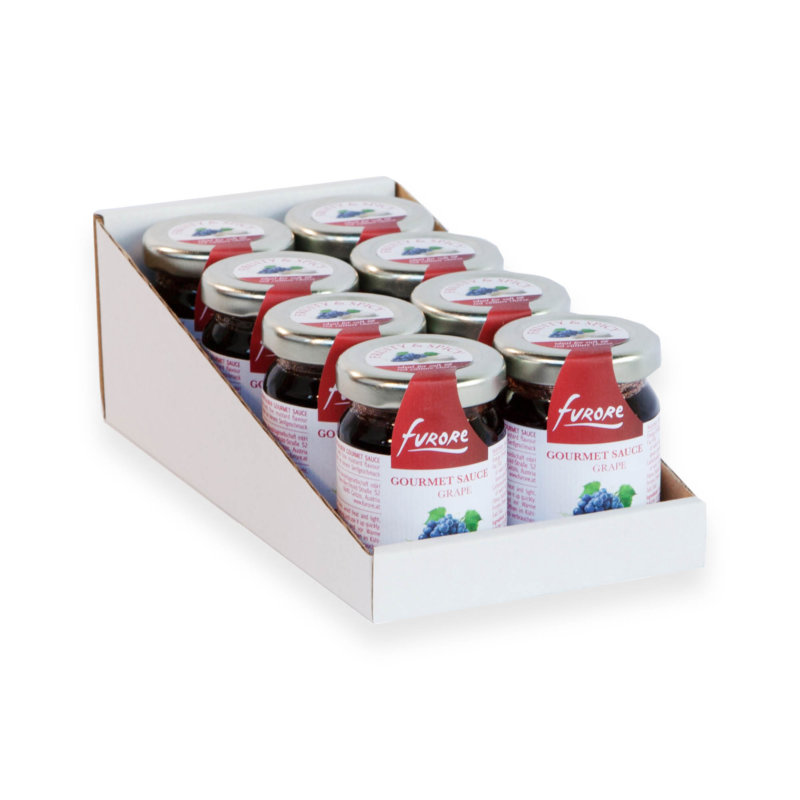 Display with gourmet sauces from furore - grape flavor