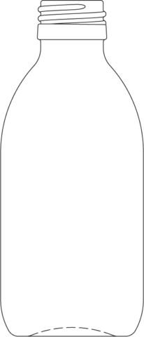 Technical drawing of syrup bottle 200 ml - article number 72434