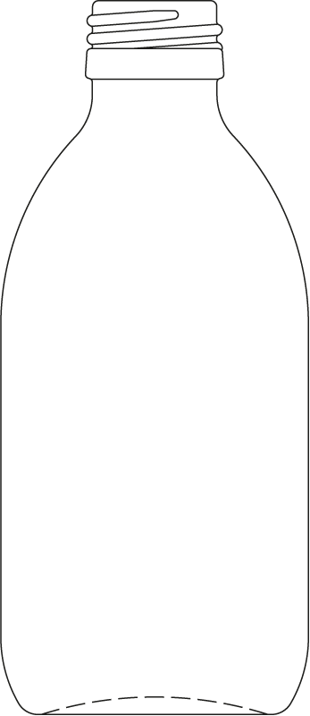 Technical drawing of syrup bottle 250 ml - article number 72434