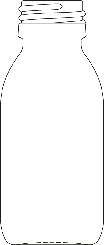 Technical drawing of medicine bottle 60 ml - article number 72990