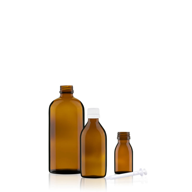 Picture showing amber medicine bottles in different sizes