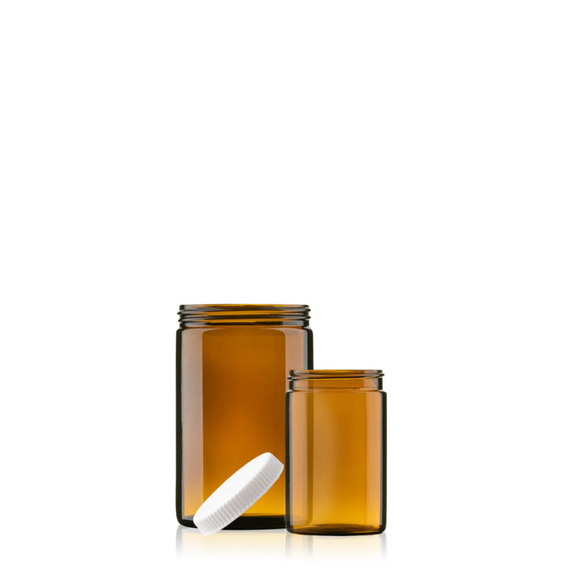 Picture showing amber ointment jars in different sizes