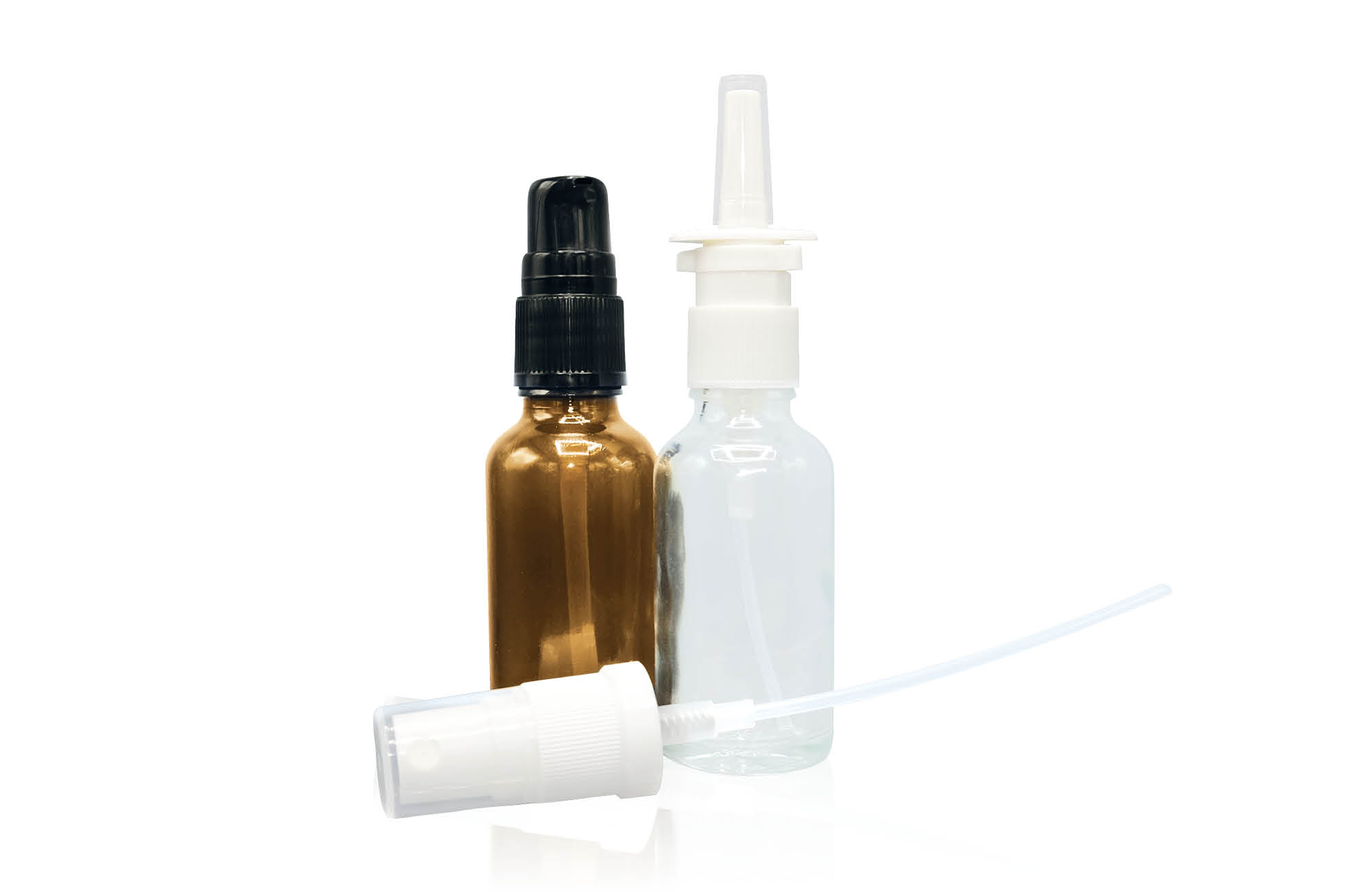 Pump system atomizer with a flint and amber dropper bottle