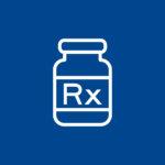 Weiße Grafik auf blauem Hintergrund zur Erklärung der RX Produkte