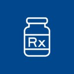 Blue background with a white graphic for RX products