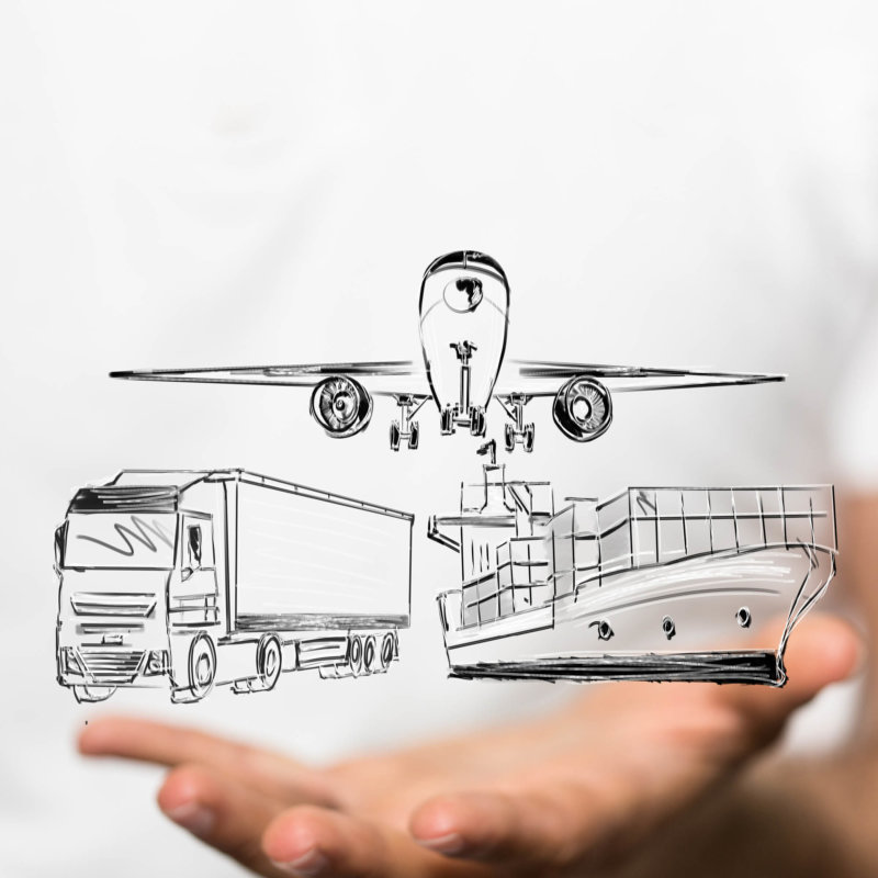 Sketch of transport means ship, truck and plane