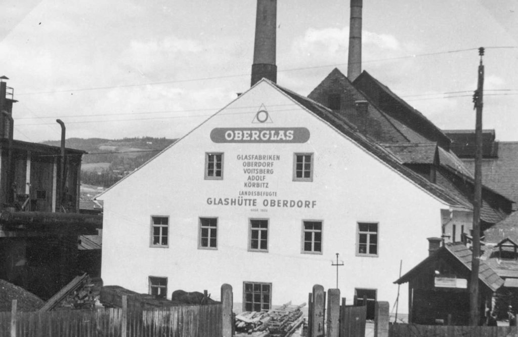 Historic picture showing the glass factory Stoelzle Oberglas formerly Glashuette Oberdorf