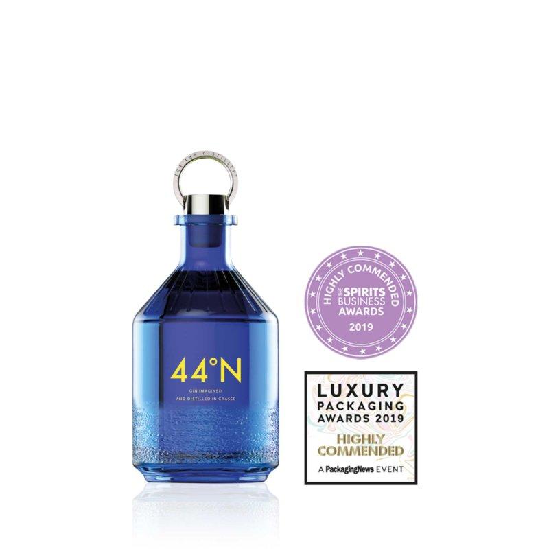 Awarded Stoelzle bottle Comte de Grasse 44 Gin with winners logo