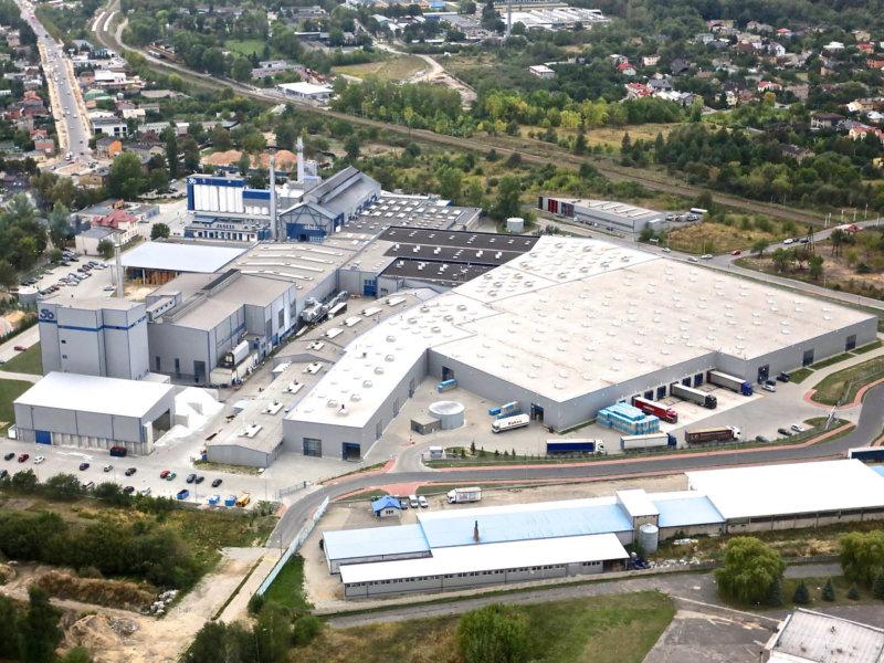 Bird view of production plant Stoelzle Czestochowa Poland